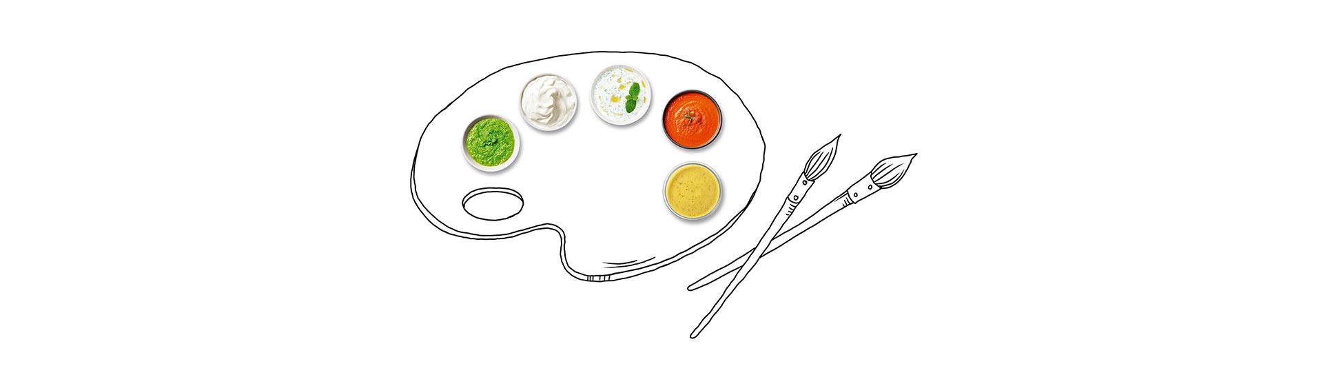 Farbpalette mit Farben aus Saucen